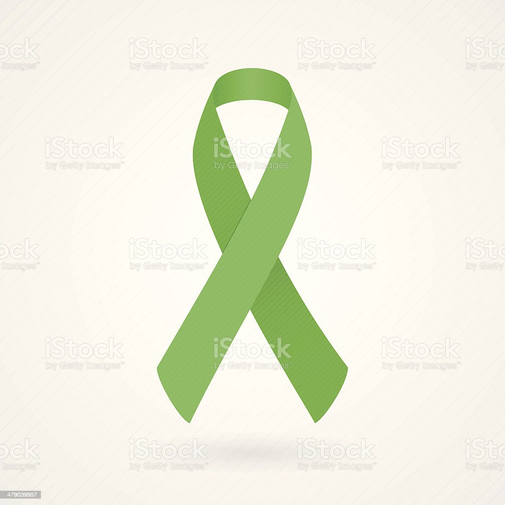 Vector illustration of green awareness ribbon vector art illustration