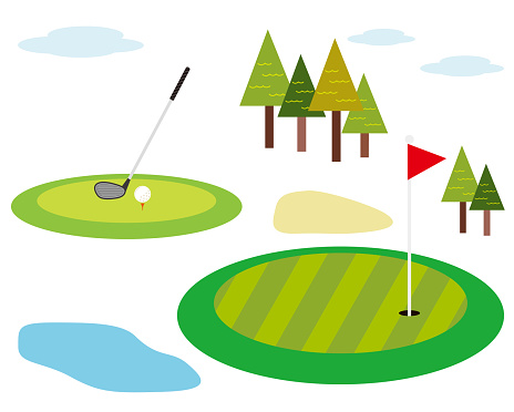 Vector illustration of green golf field .