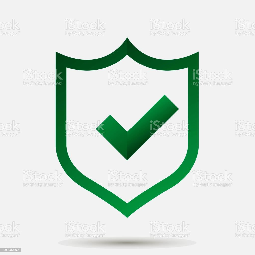 Vector Illustration Of Green Shield With Tick And Cross Symbol Of
