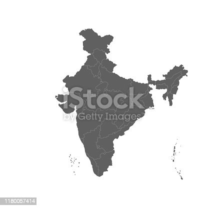 Vector illustration of grey India map. Vector map.