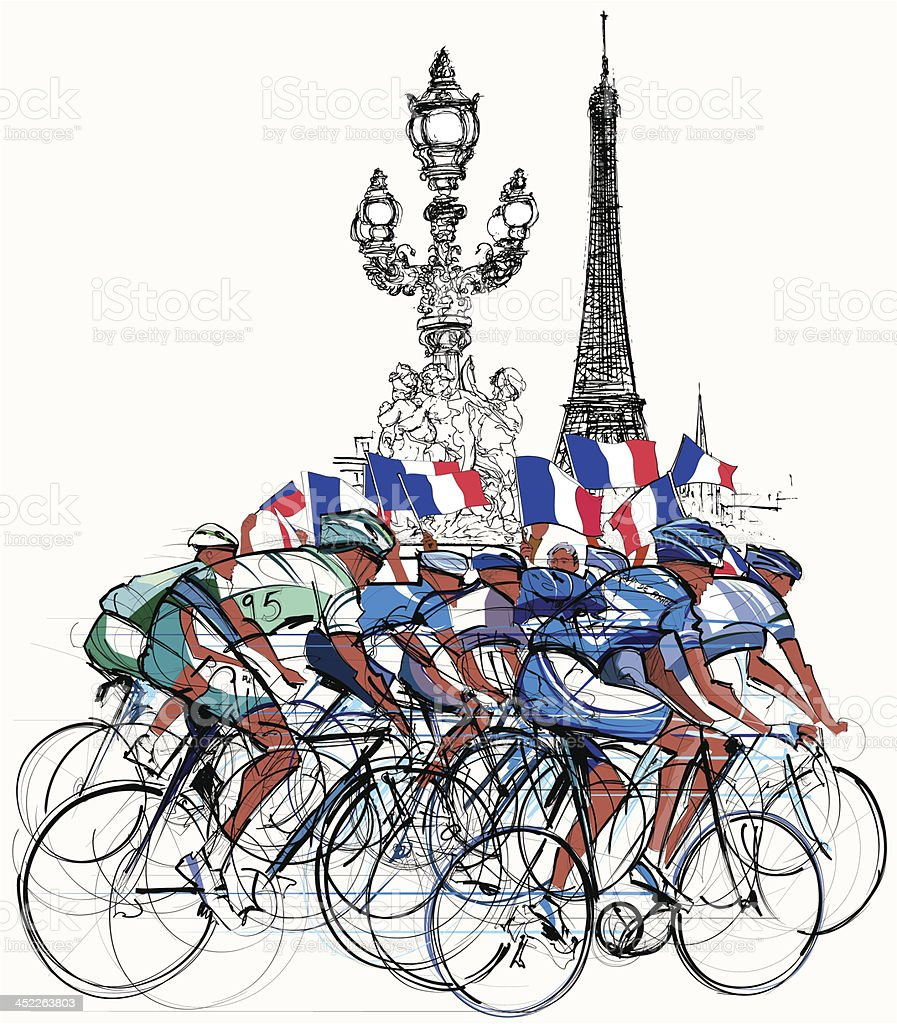 Vector illustration of group of cyclists in Paris vector art illustration