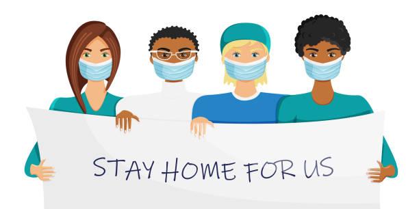 illustrations, cliparts, dessins animés et icônes de illustration de vecteur de groupe de médecins dans des masques - medecin covid