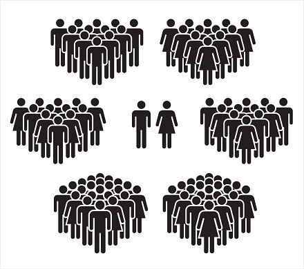 Vector illustration of group of stylized people in black. clipart