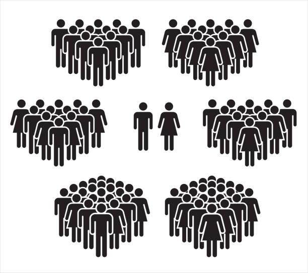 블랙에 양식에 일치 시키는 사람의 그룹의 벡터 그림. - 사람들 stock illustrations