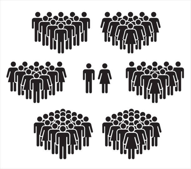 vector illustration of group of stylized people in black. - people stock illustrations