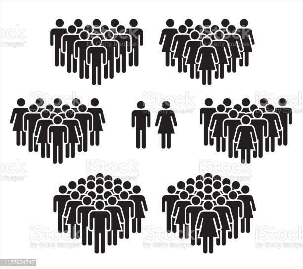 Vektorillustration Der Gruppe Von Stilisierten Menschen In Schwarz Stock Vektor Art und mehr Bilder von Alter Erwachsener