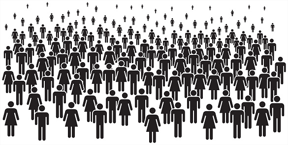 Vector illustration of group of stylized people in black.