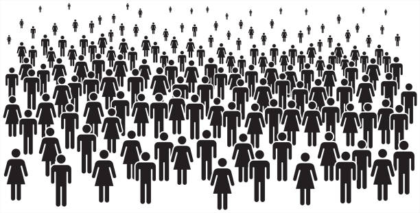 Vector illustration of group of stylized people in black. People icons – man and woman. crowd of people stock illustrations