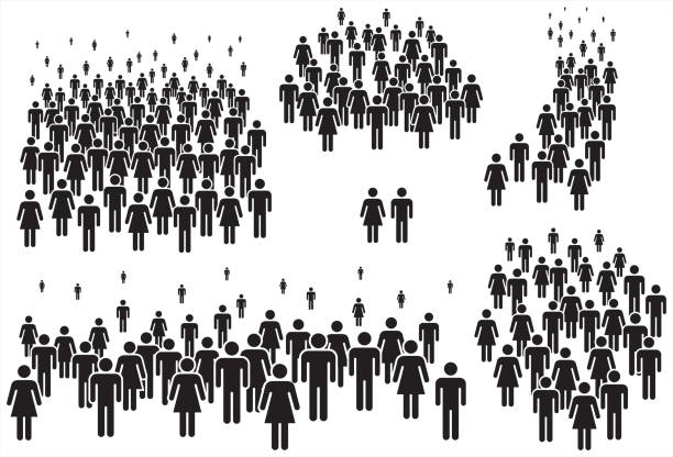 vector illustration of group of stylized people in black. - old man stick figure silhouette stock illustrations, clip art, cartoons, & icons