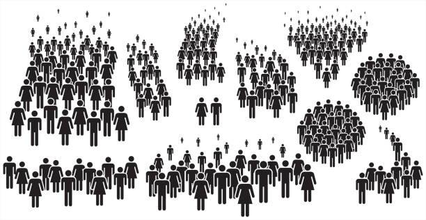 vektordarstellung der gruppe der stilisierten menschen in schwarz. - menschengruppe stock-grafiken, -clipart, -cartoons und -symbole