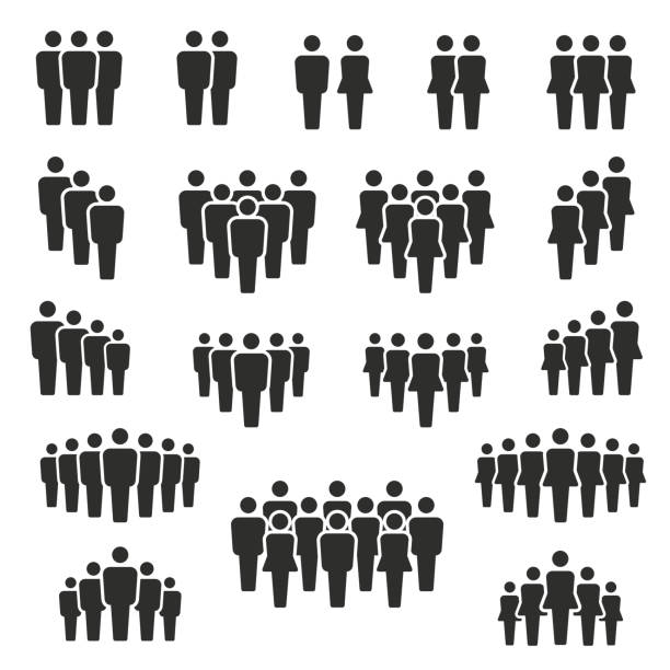 벡터 일러스트 의 그룹 의 스타일화된 사람들 에 검정 - 사람들 stock illustrations