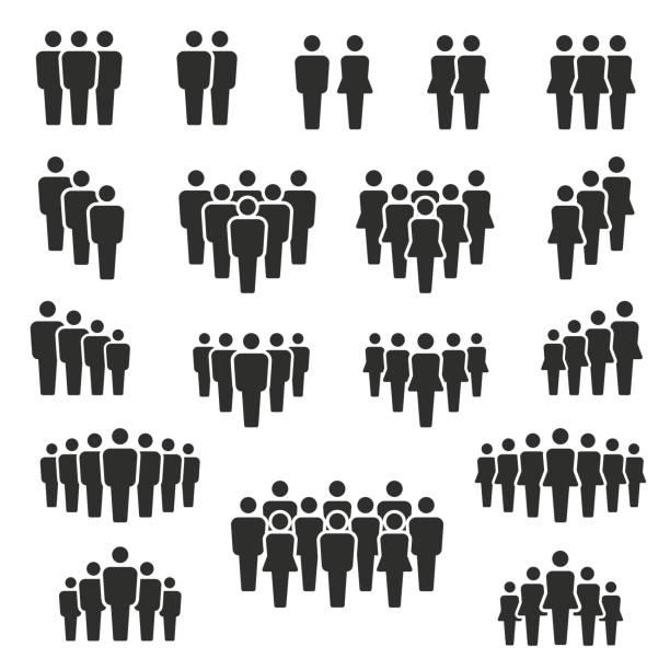vektor-illustration der gruppe von stilisierten menschen in schwarz - menschen stock-grafiken, -clipart, -cartoons und -symbole