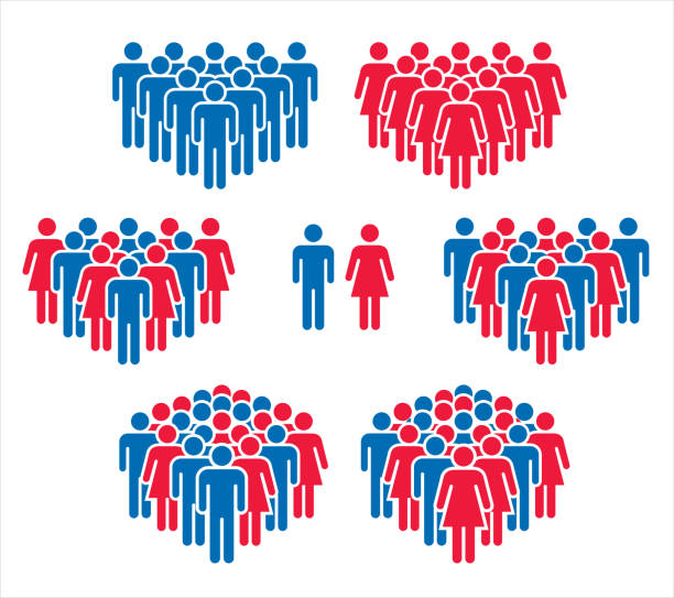 vector illustration of group of stylized people in red and blue. - old man stick figure silhouette stock illustrations, clip art, cartoons, & icons