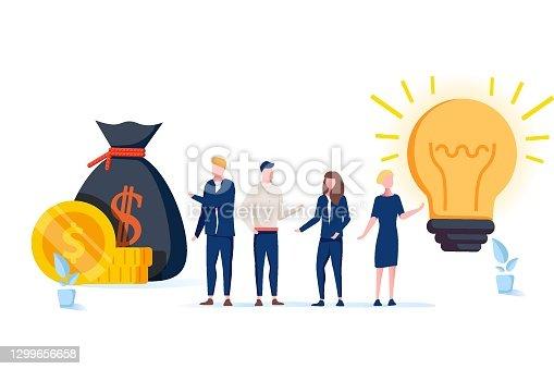 A vector illustration of groups of people who inject money into an idea on a swing and outweighs it, the concept.