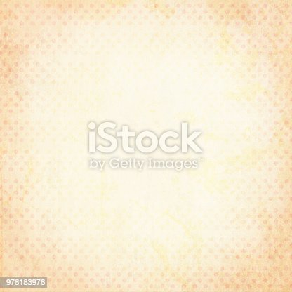 Vector Illustration of grunge pale pink and yellowish polka dotted background. The dare in dots are in tones of pale pink and yellowish. Can be used as christmas background, wrapping paper design, greeting card. Rustic yet festive look.