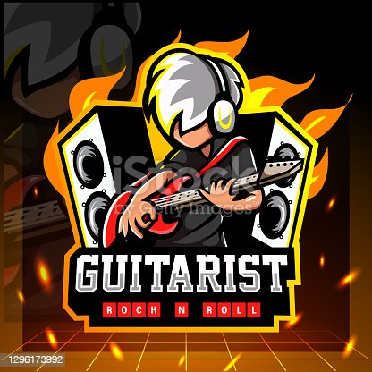 istock Vector illustration of Guitarist mascot. symbol design 1296173992