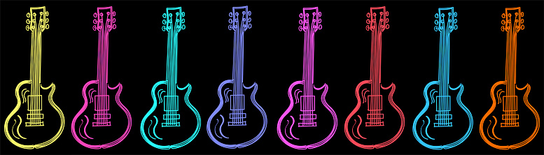 Vector illustration of guitars in horizontal format in neon style