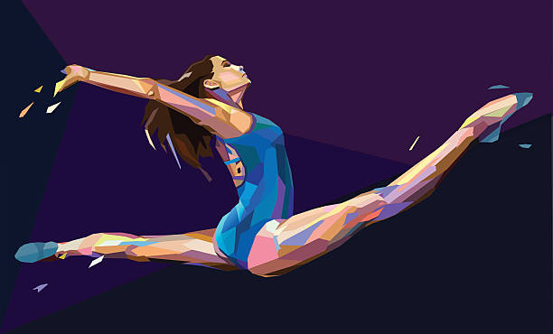 vector illustration of gymnast girl - gymnastics stock illustrations, clip art, cartoons, & icons