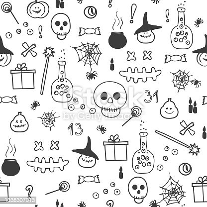 istock Vector illustration of Halloween gifts, skulls and pumpkins, potion and spider web.  Seamless pattern. 1338307013