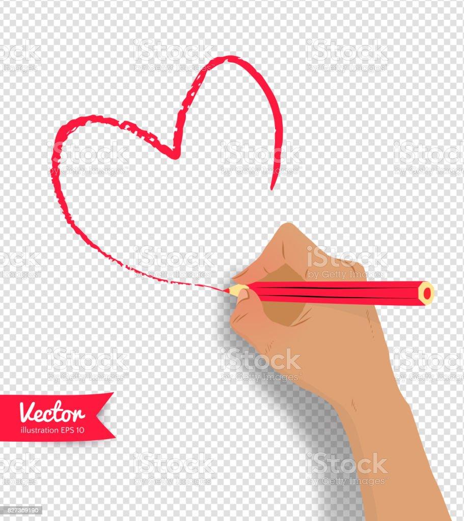Illustration Vectorielle De Main Dessin Coeur Vecteurs
