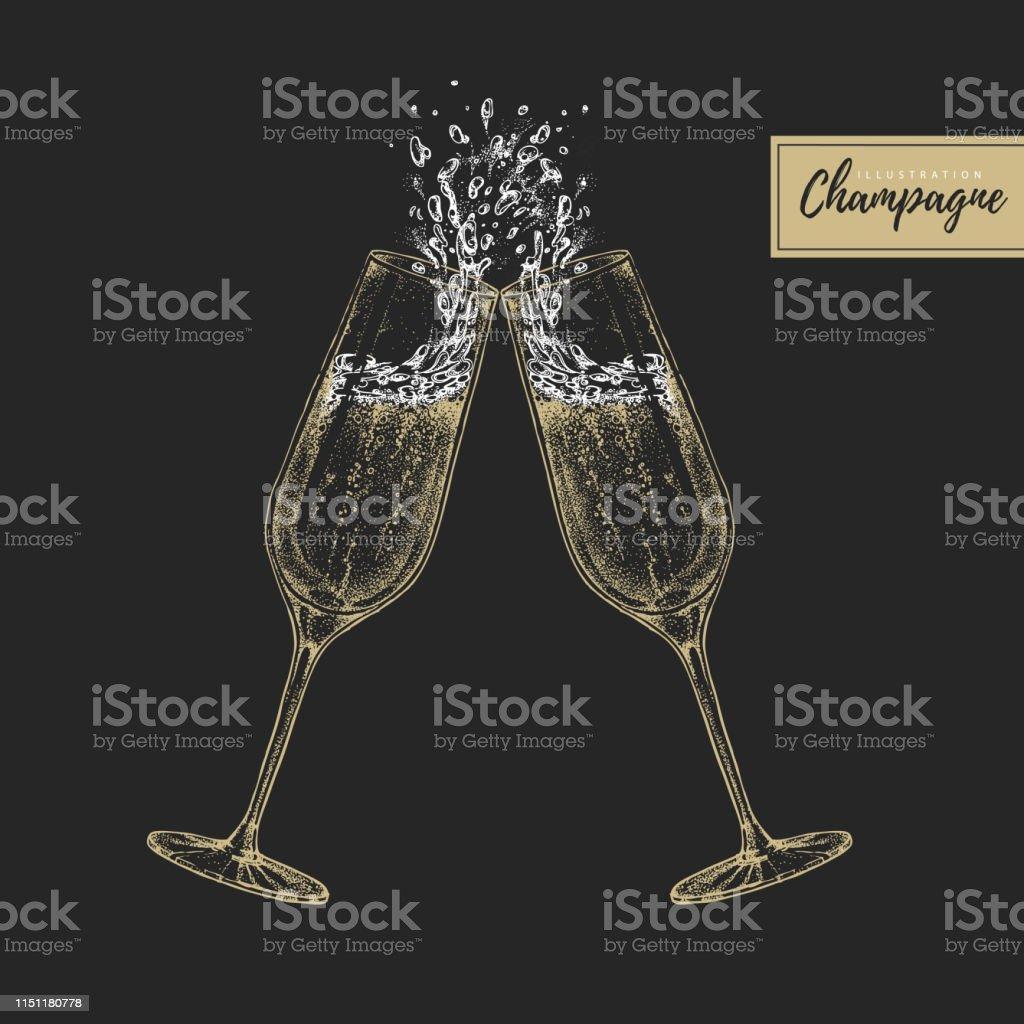 Vektordarstellung der Handzeichnung von zwei klingenden Champagnerbrillen - Lizenzfrei Alkoholisches Getränk Vektorgrafik