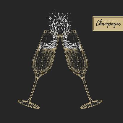 Vektordarstellung Der Handzeichnung Von Zwei Klingenden Champagnerbrillen Stock Vektor Art und mehr Bilder von Alkoholisches Getränk