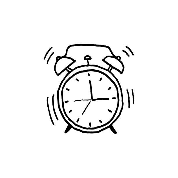 bildbanksillustrationer, clip art samt tecknat material och ikoner med vektorillustration av handen ritade väckarklocka. - alarm clock