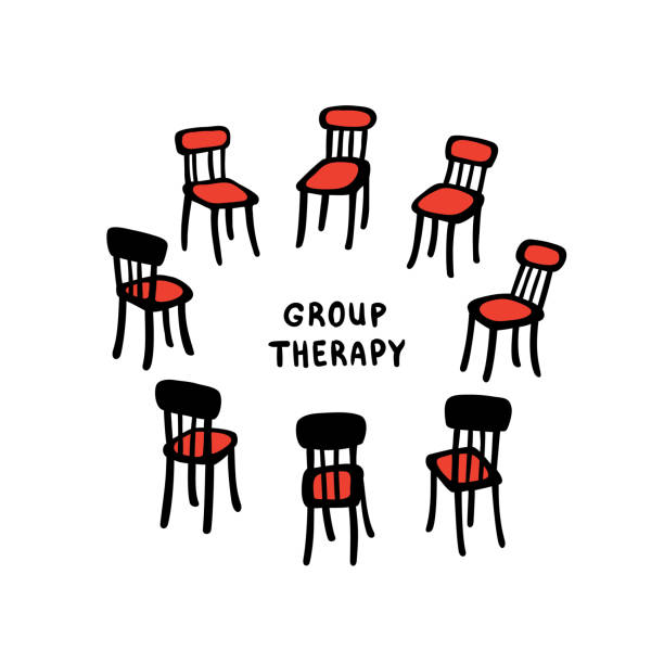 Vector illustration of hand drawn chairs arranged in a circle. Beautiful illustration of a group therapy process. vector art illustration