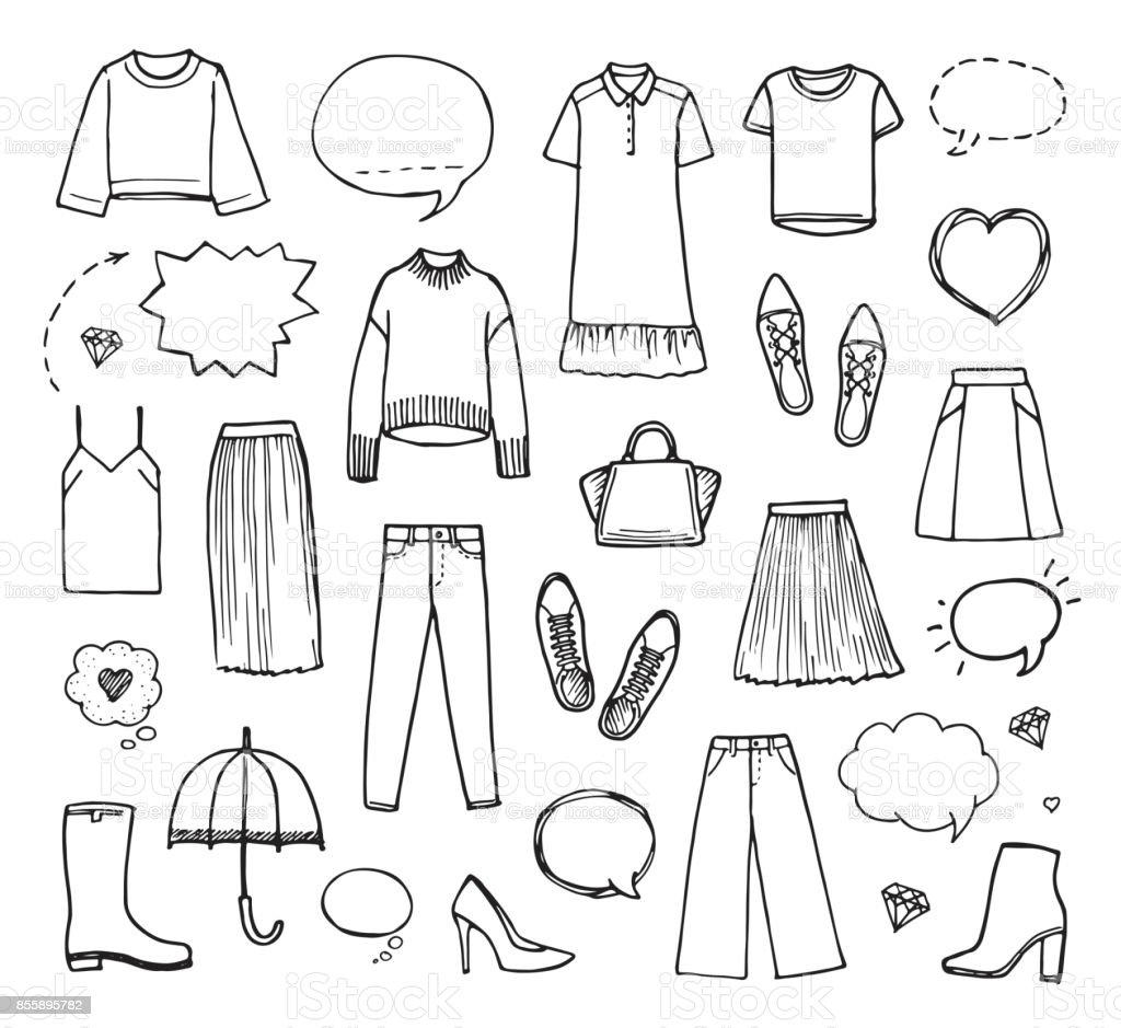 Vektor-Illustration von Hand gezeichnet Modekollektion mit Damenbekleidung auf weißem Hintergrund. – Vektorgrafik