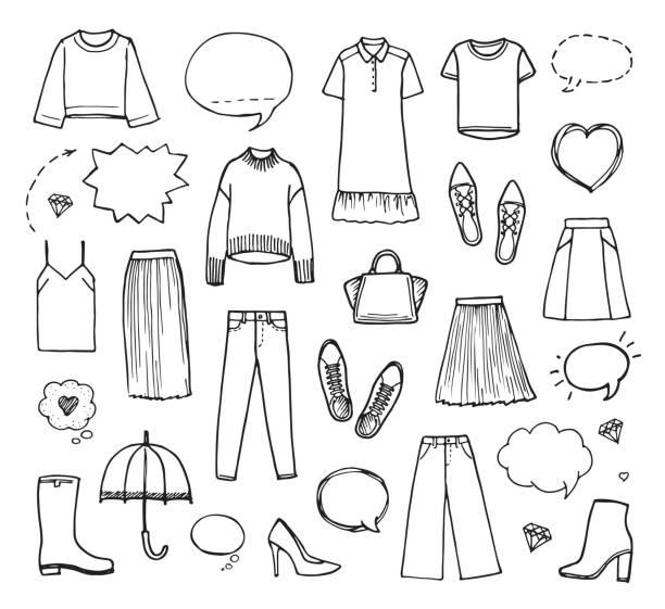 vektor-illustration von hand gezeichnet modekollektion mit damenbekleidung auf weißem hintergrund. - damenmode stock-grafiken, -clipart, -cartoons und -symbole