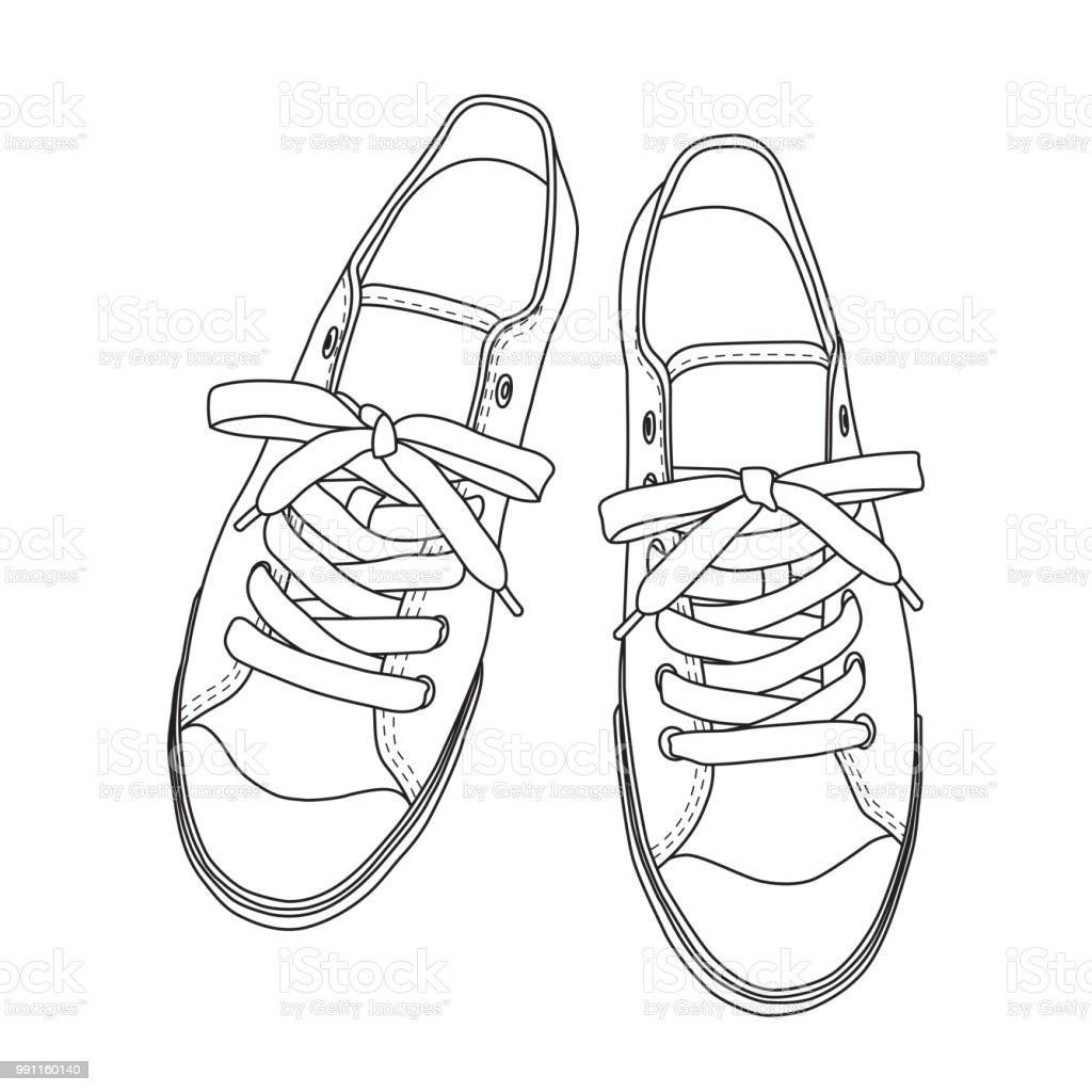 Vektorillustration Von Hand Gezeichnet Grafik Schuhe Schuhe Stock