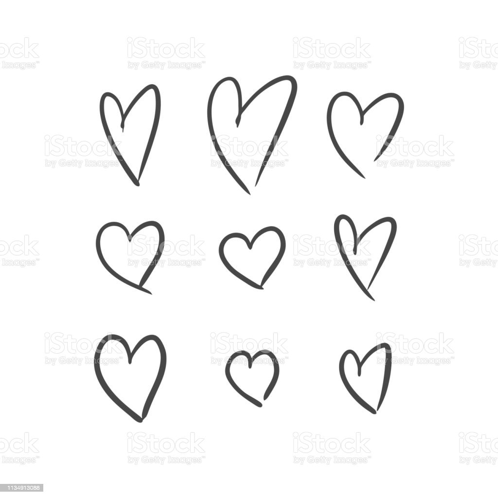 Illustrazione vettoriale di cuori disegnati a mano su sfondo bianco - arte vettoriale royalty-free di Alla moda