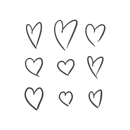 Vector illustration of hand drawn hearts on white background