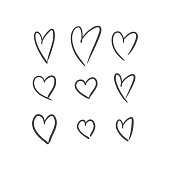 Vector illustration of hand drawn hearts on white background.