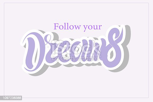 Vector illustration of hand drawn lettering of text Dreams