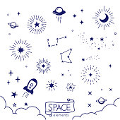 Vector illustration of hand drawn space elements