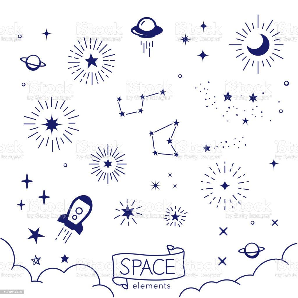 Vector illustration of hand drawn space elements vector art illustration