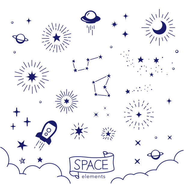 illustrazioni stock, clip art, cartoni animati e icone di tendenza di vector illustration of hand drawn space elements - stelle