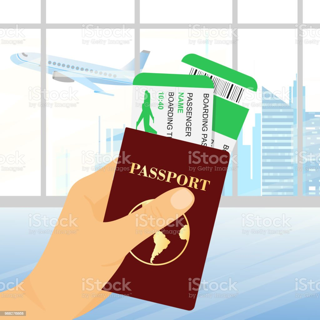 Vector Illustration Of Hand Holding Passport With Tickets On