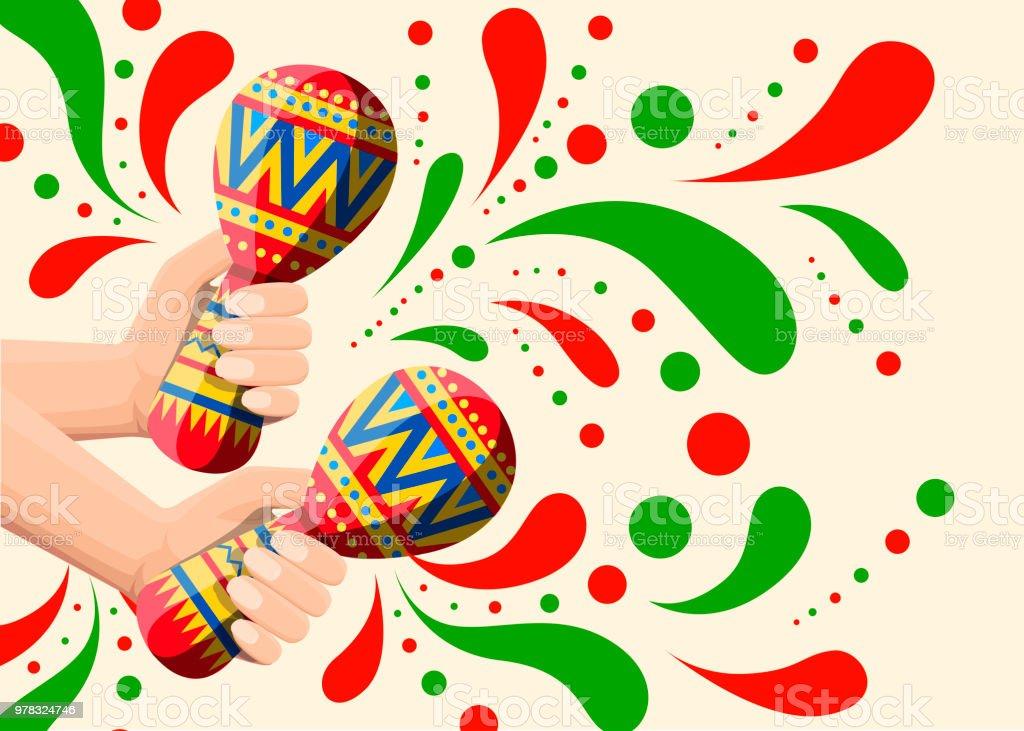 vector illustration of hand holds colorful maracas pair maracas flat