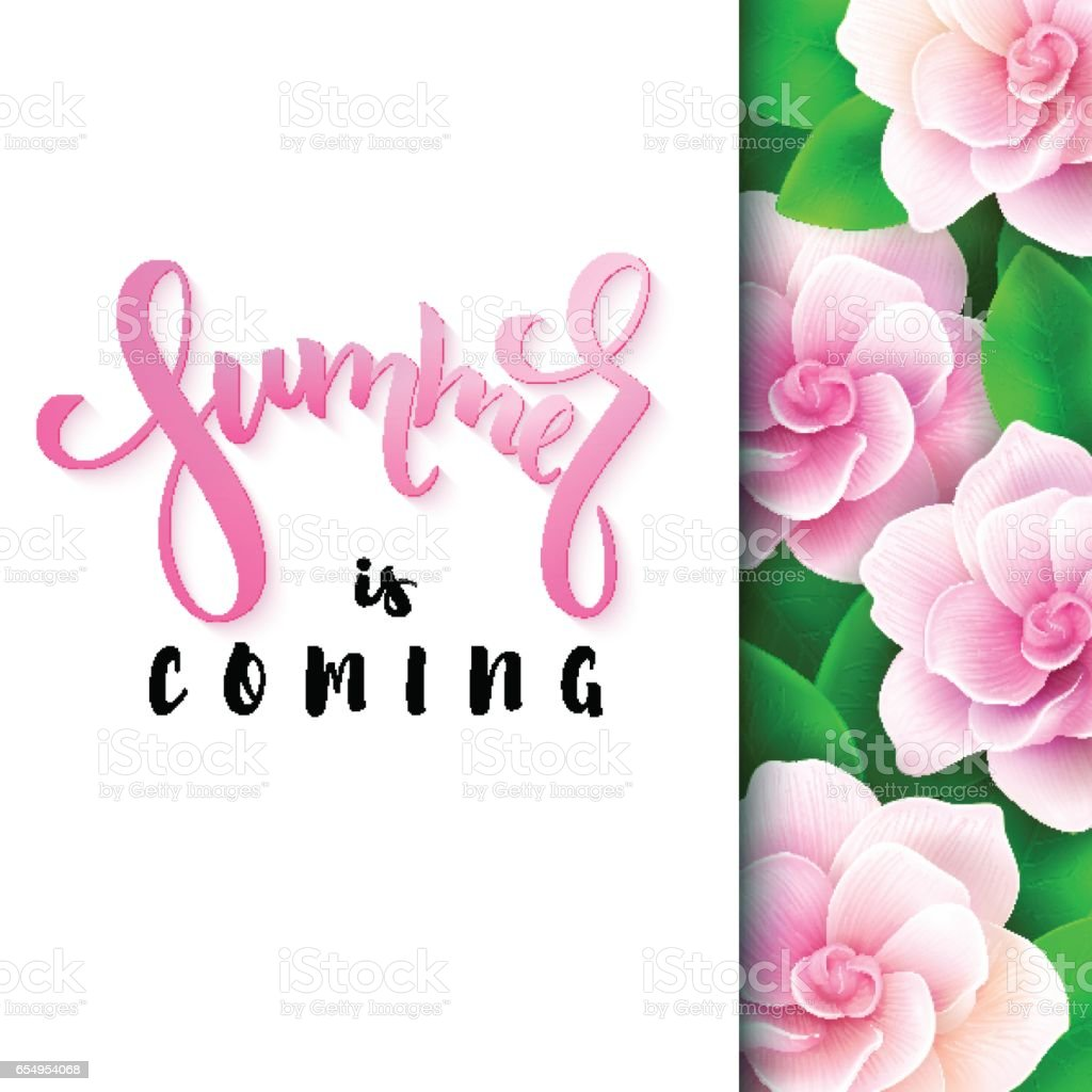 Vector Illustration Of Hand Lettering Poster   Summer Is Coming With Paper  Sheet On A Background