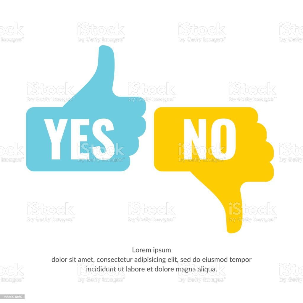 Vector illustration of hand voting with Yes and No in flat style vector art illustration