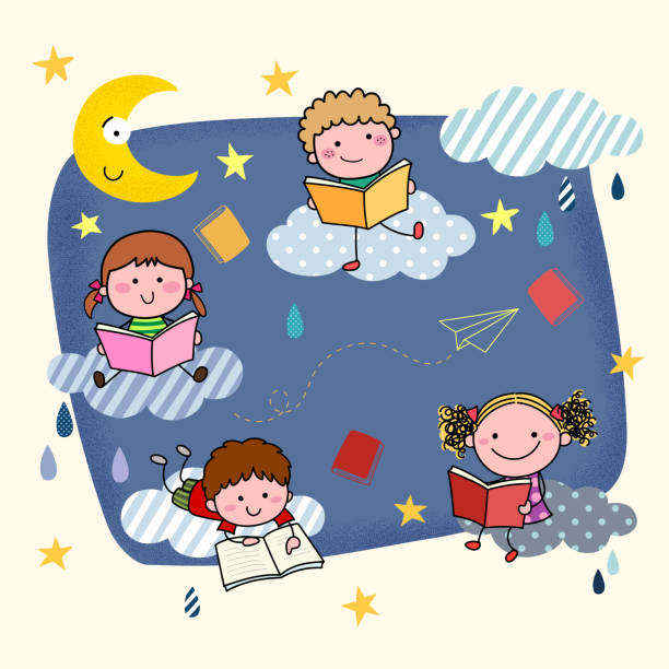 vector illustration of hand-drawn cartoon kids reading books on the clouds at night. - bedtime story stock illustrations
