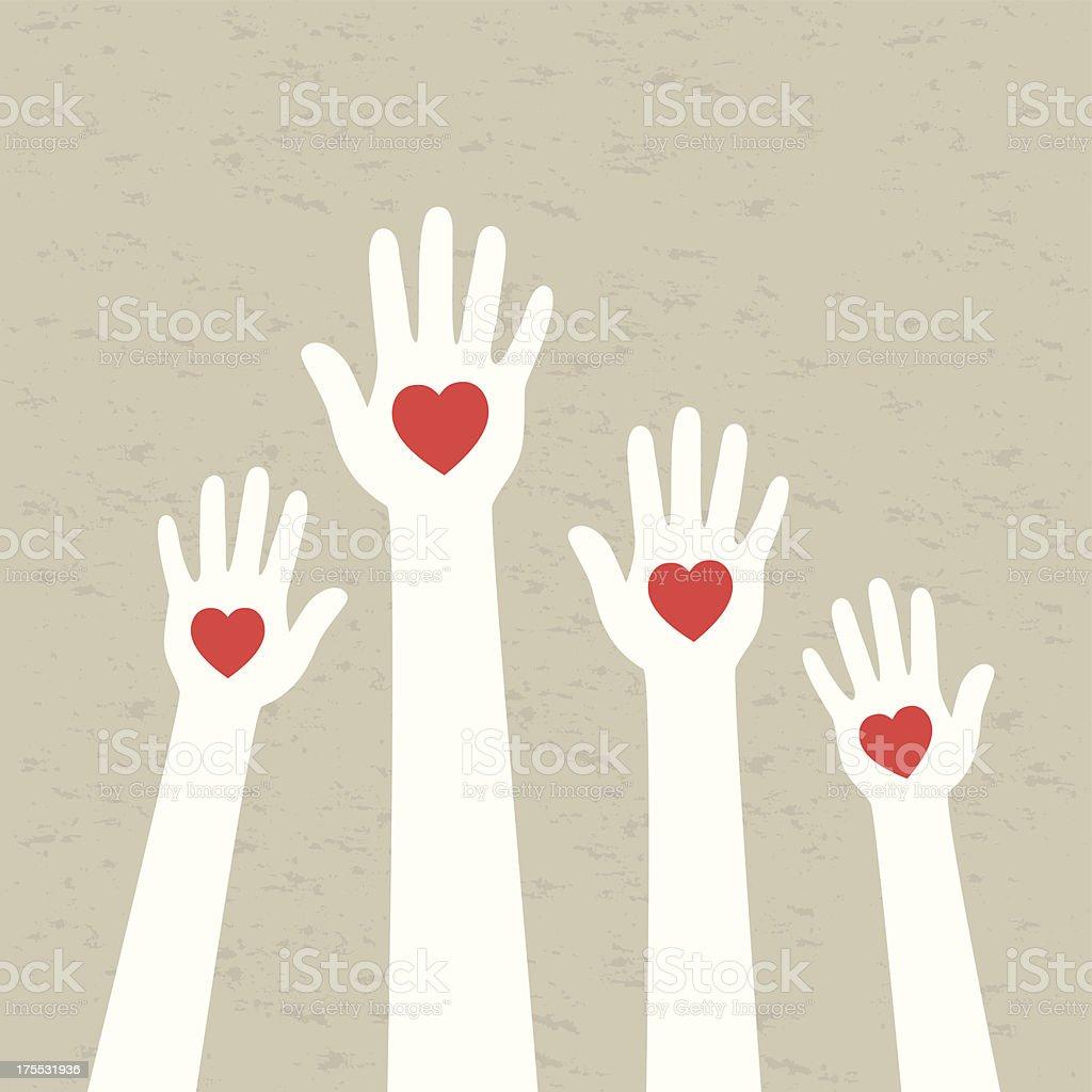 Vector illustration of hands and hearts vector art illustration