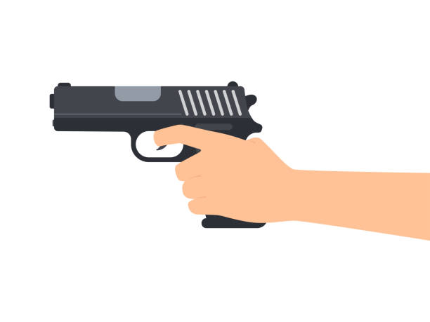 Vector illustration of hands holding gun isolated on white background Vector illustration of hands holding gun isolated on white background pistol stock illustrations