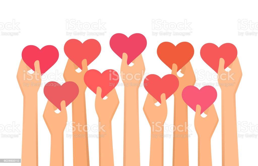 Vector illustration of hands holding hearts high up vector art illustration