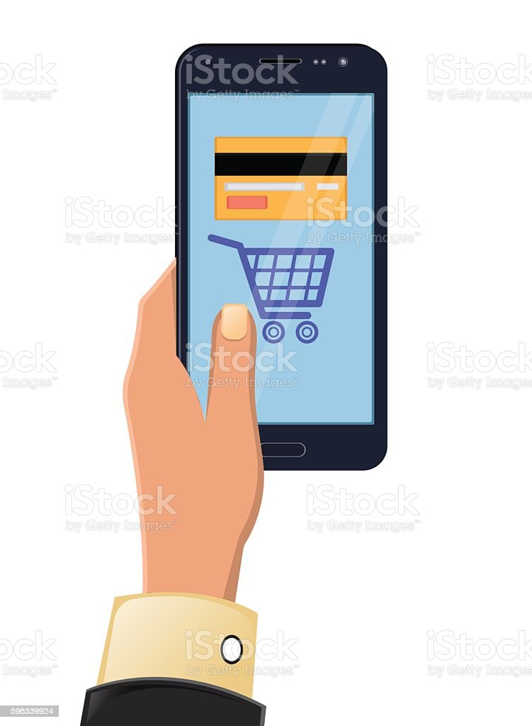 Vector illustration of hands holding smartphone Lizenzfreies vector illustration of hands holding smartphone stock vektor art und mehr bilder von abstrakt