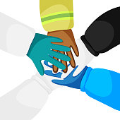 Vector illustration of hands of diverse workers isolated. Concept of cooperation, unity, togetherness, partnership, teamwork in quarantine time. Laborers are like doctors, police officer, firefighter