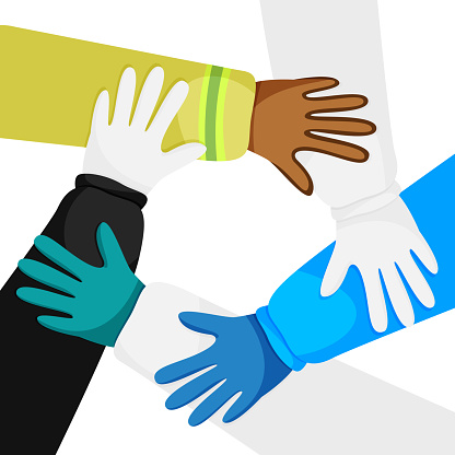 Vector illustration of hands of diverse workers