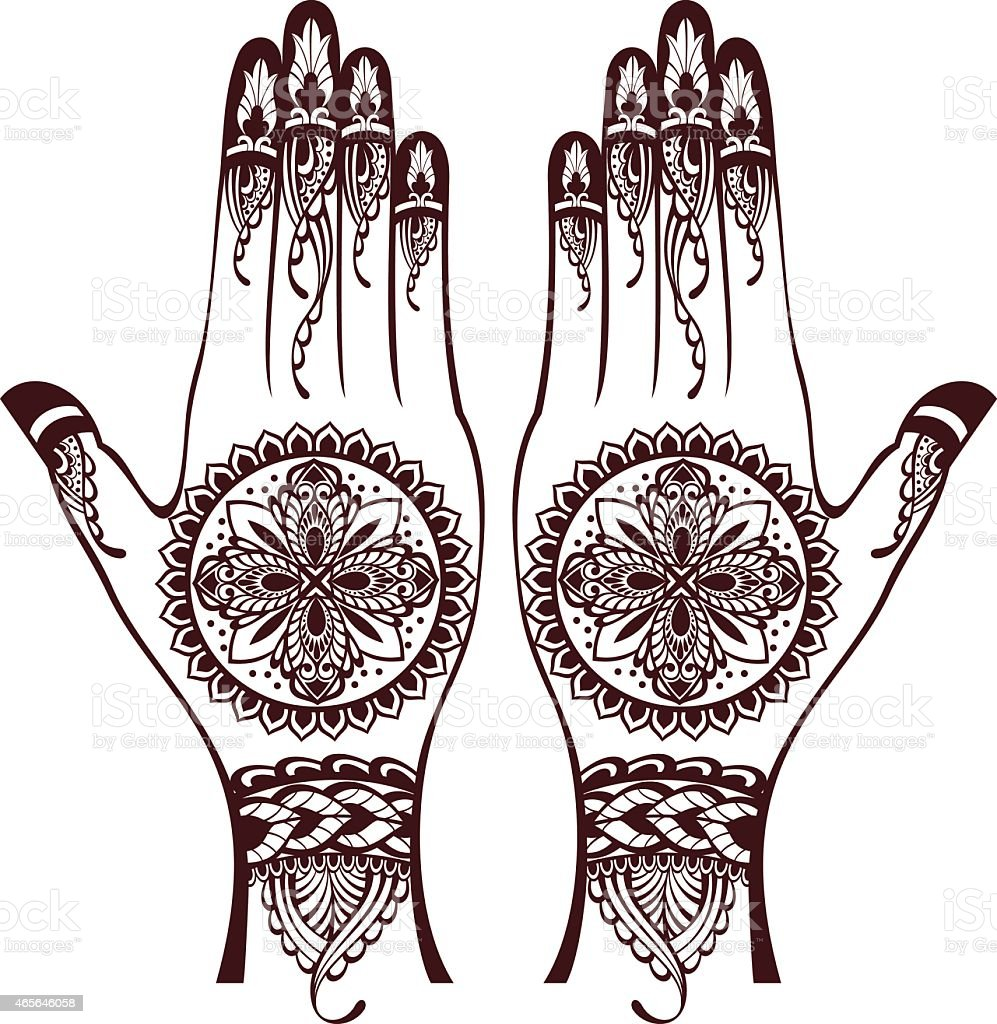 Mehndi Hand Vector Free Download : Vector illustration of hands with henna tattoos stock